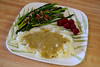 Fried Asparagus, Raspberries and Mashed Potatoes with Gravy (Vegan)