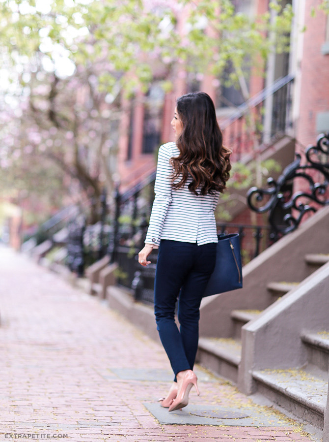 navy pants striped blazer work outfit