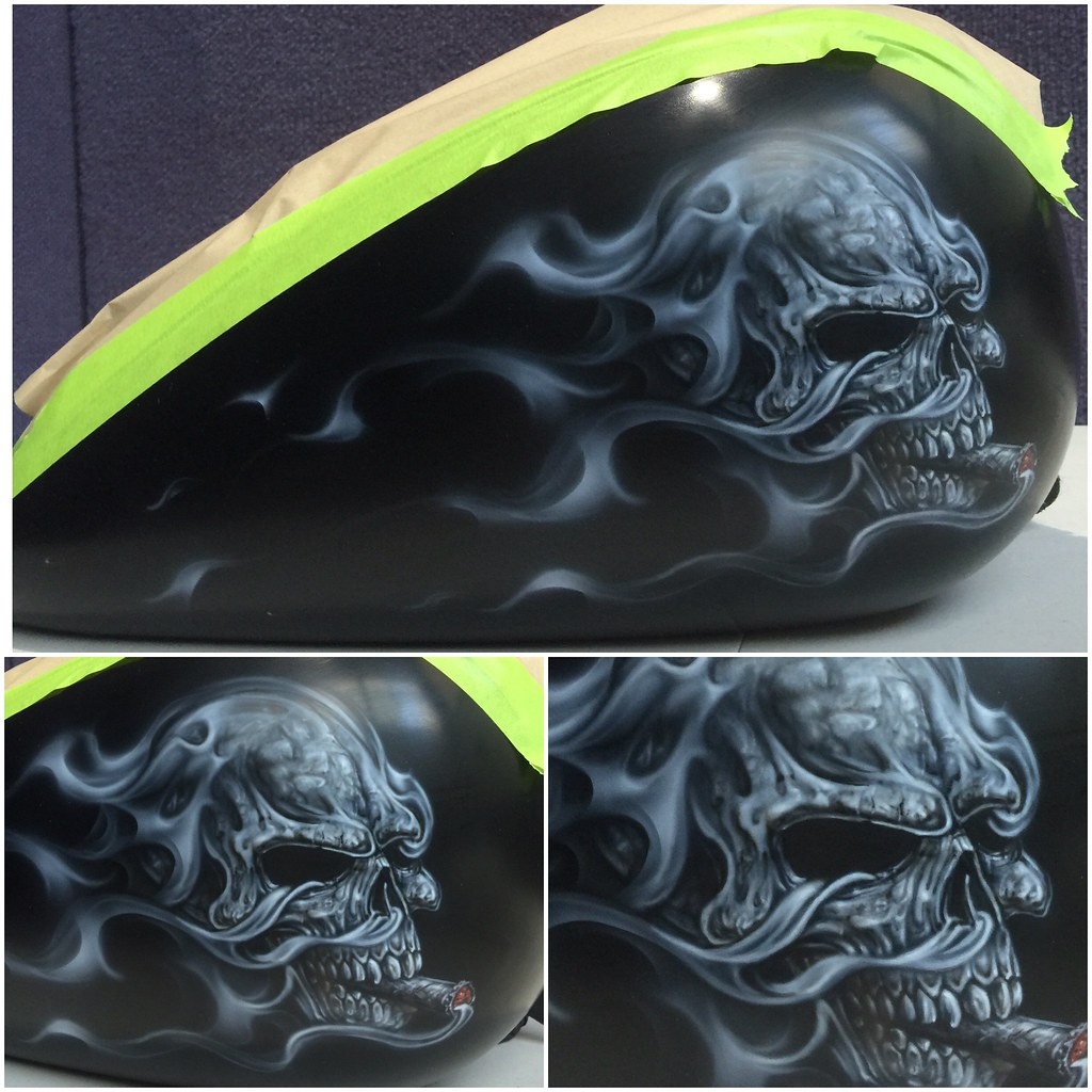 Completed skull with cigar mural and smoke flames on this for Airbrush mural painting