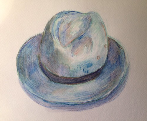 Watercolor pencil hat. Not sure if I like it or not. I think I'm going to abandon the pencils for straight watercolors again.