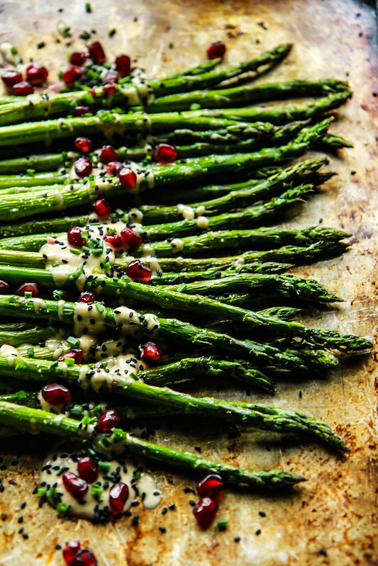 Roasted Asparagus with Lemon Sesame Sauce
