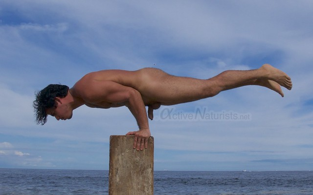 naturist acro-yoga 0010 Gunnison Beach, Sandy Hook, NJ, USA