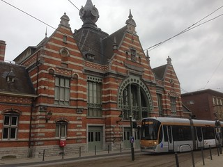 Schaerbeek station with 92 tram to Fort-Jaco