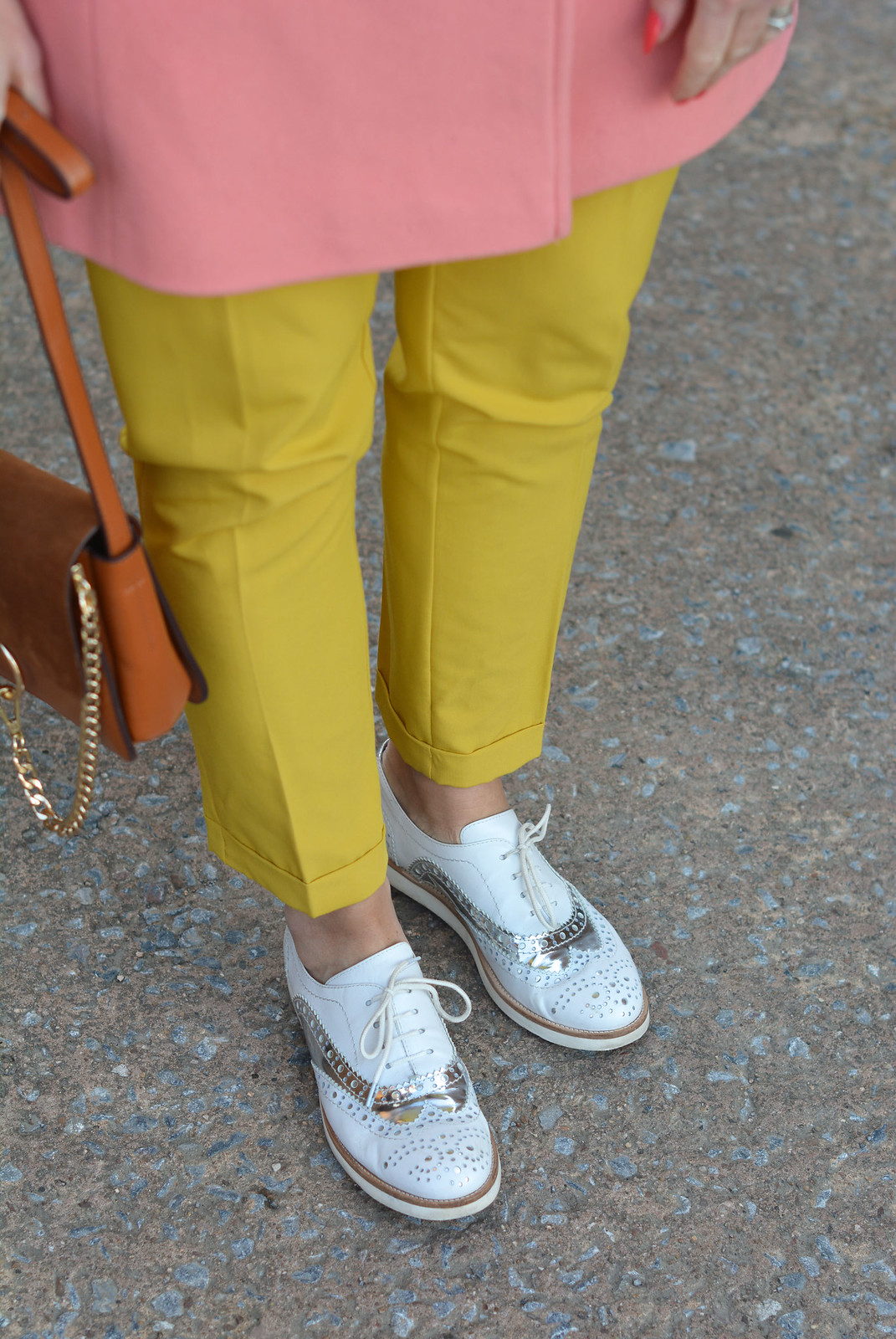 Winter style: Peach coat, mustard yellow trousers, silver/white brogues | Not Dressed As Lamb