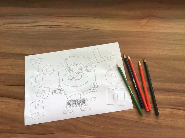 提供色鉛筆與著色畫圖稿@Young Lion 親子餐廳,高雄三民區