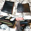 """Custom requested variant to """"The Genny"""" card wallet. Great design. I may add this to my lineup.   Shown holding 5 credit cards, 1 lottery ticket, 2 ID cards, and some cash. Could easily hold more.  #leatherwork #horweenchromexcel #black #wallet #custom #h"""