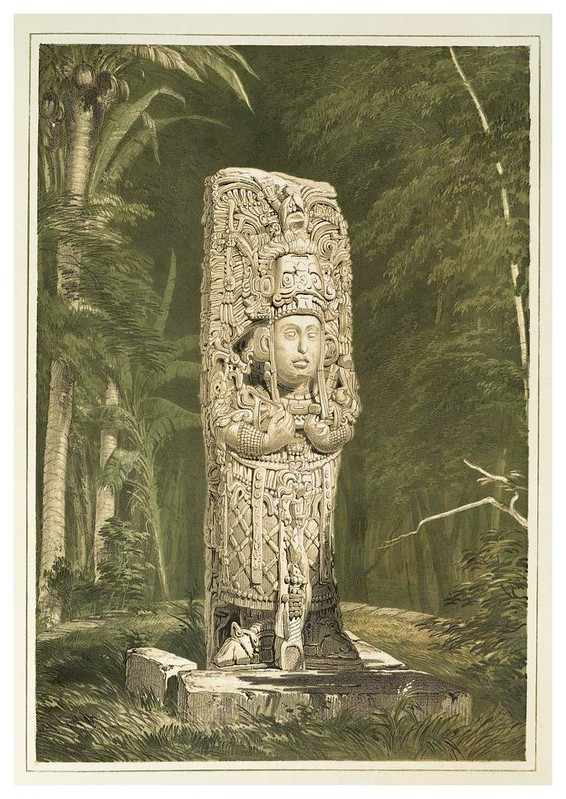 001-Idolo en Copan-Views of ancient monuments in Central America…1844- F. Catherwood
