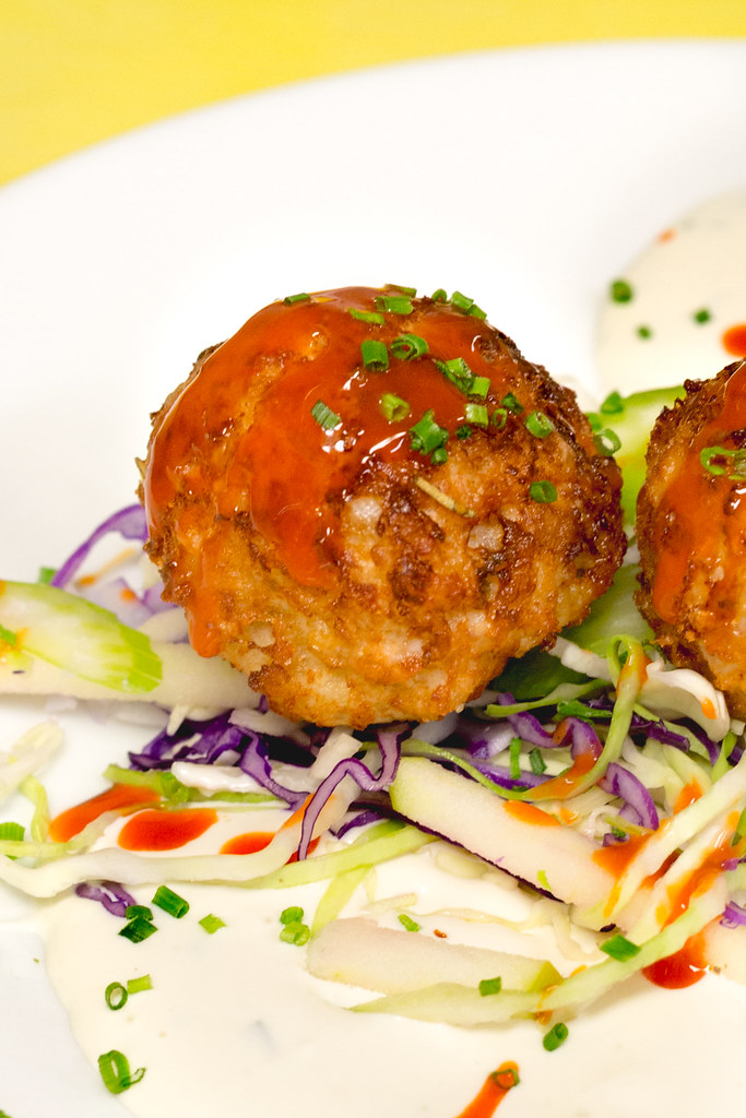 Buffalo Chicken Meatballs with Apple-Celery Slaw