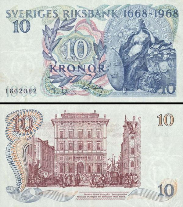 10 Korún Švédsko 1968, P56a UNC