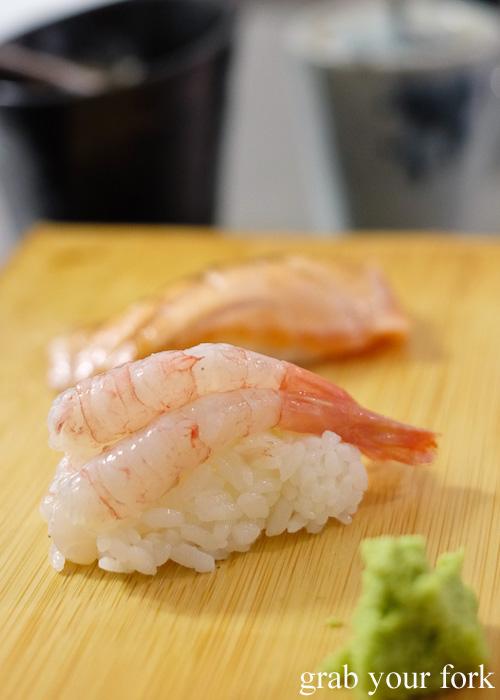 Ama ebi raw prawn sushi at Sashimi Shinsengumi, Crows Nest
