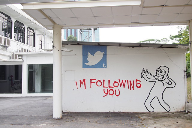 """I'm Following You"" grafitti. Art Day Out 2016, Gillman Barracks, Alexandra, Singapore"