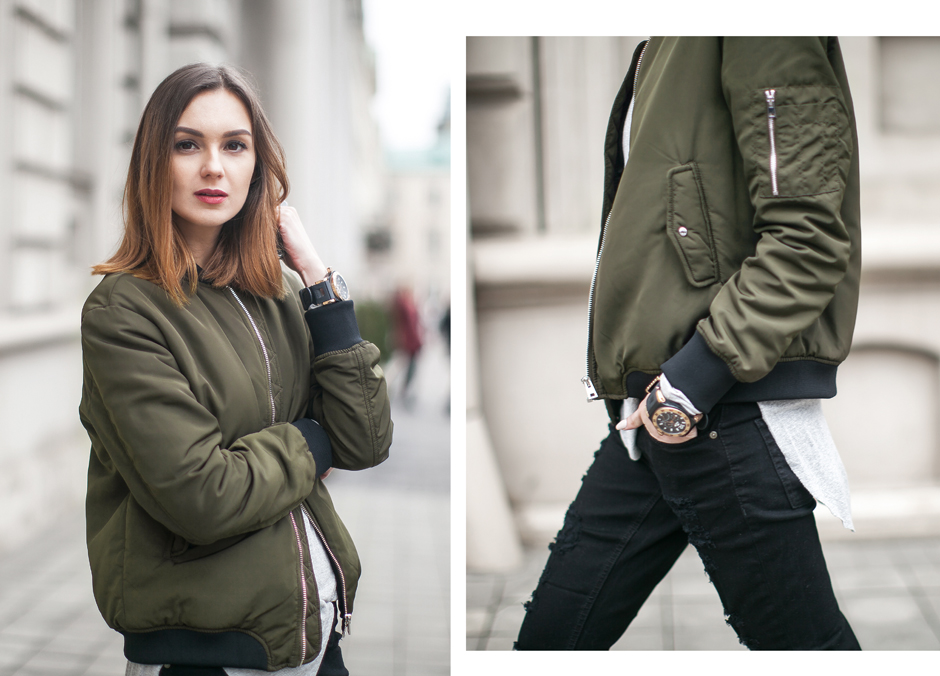 how-to-wear-khaki-bomber-black-jeans-outfit