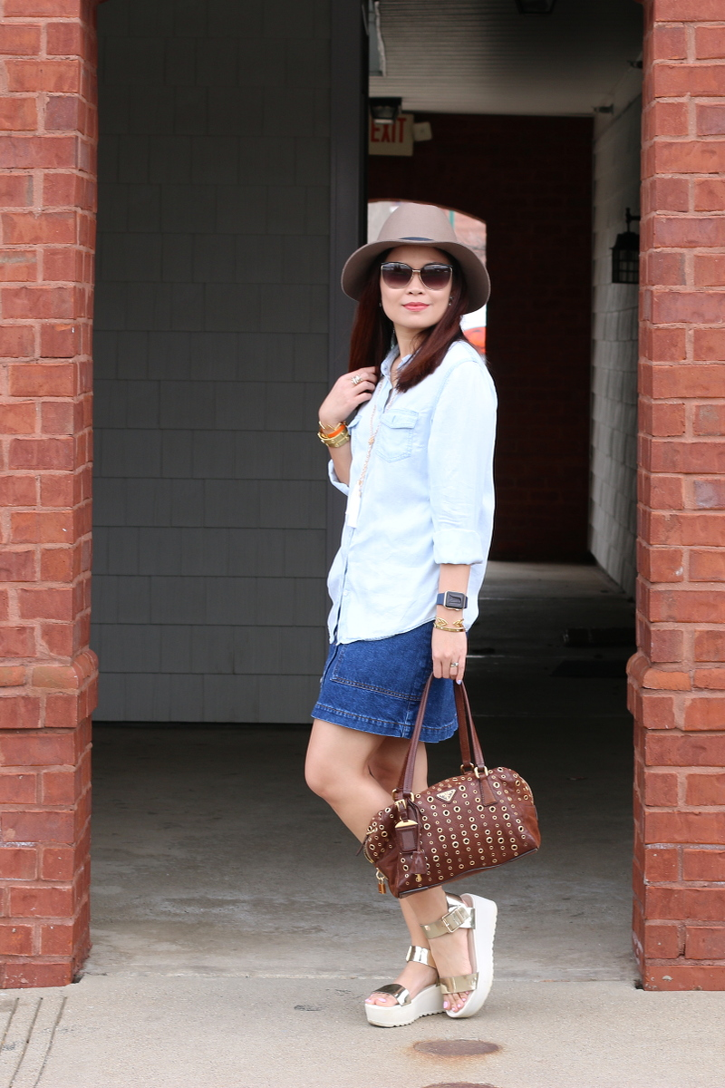 denim on denim, Chambray button down shirt, denim skirt, platform sandals