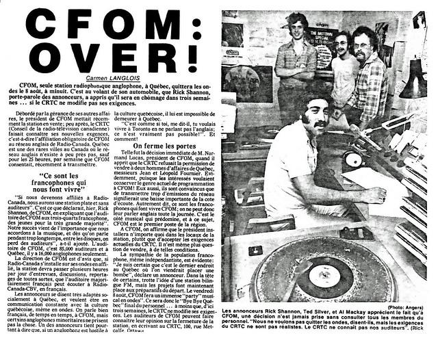 """CFOM 1340 AM Radio, """"Fermeture"""": Journal de Québec, Juillet 1975"""