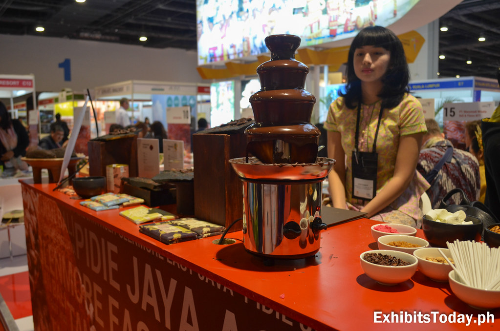 Chocolate Fondue at the Wonderful Indonesia Trade Show Display Booth