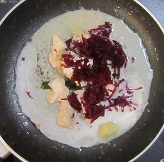 Chicken Stew - Adding beetroot, cashew paste, thick coconut milk when chicken is cooked