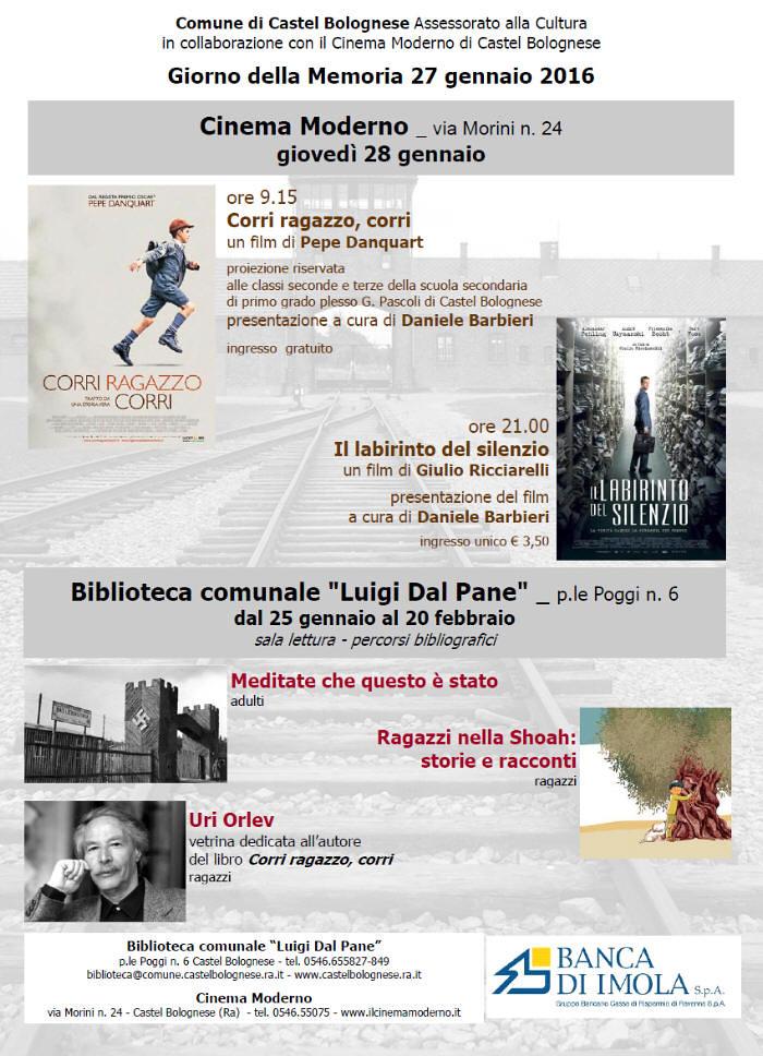 Libri e film dal 25 gennaio per commemorare il Giorno della Memoria a Castel Bolognese