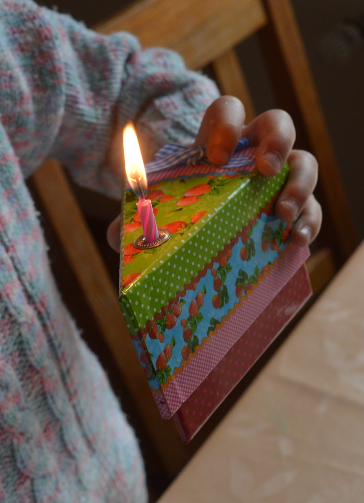 Cardboard Birthday Cake Slice Lit Candle Wax Fire Burn A Photo On