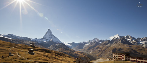 sunset panorama mountain switzerland valley zermatt matterhorn 日落 瑞士 riffelberg 采尔马特
