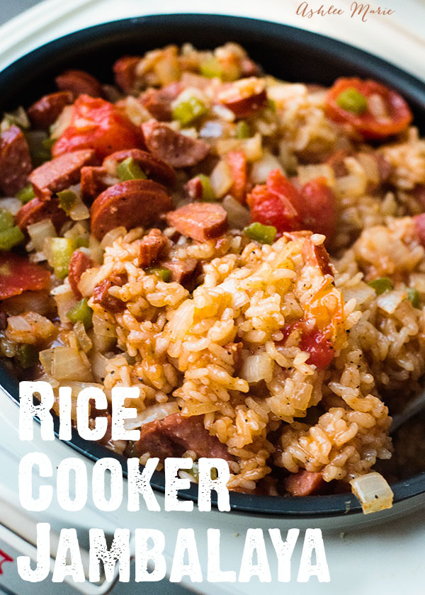 it doesn't get much easier to make this sausage jambalaya than in the rice cooker