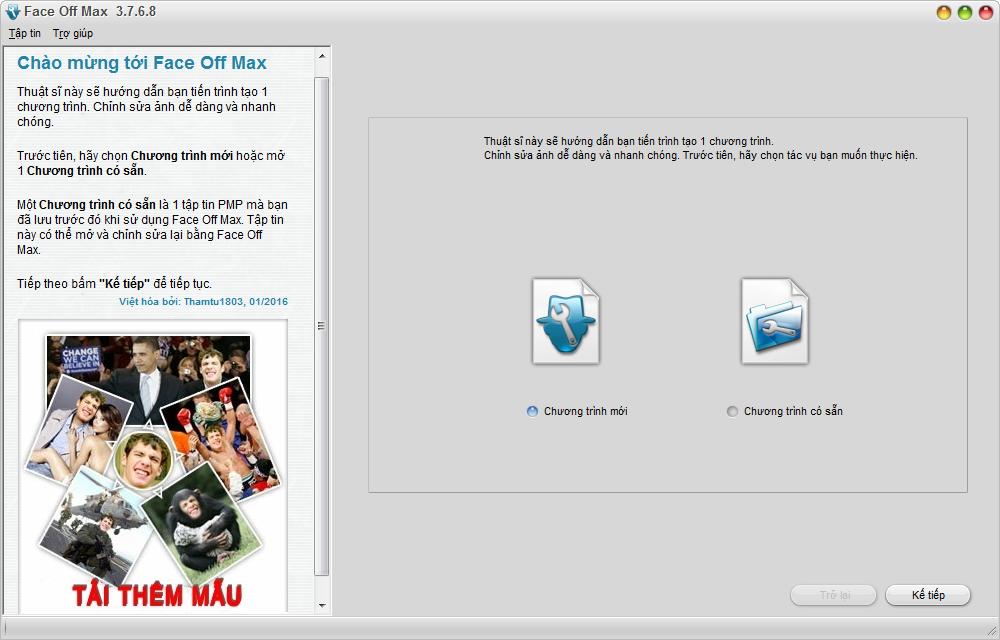 [Việt hoá] Face Off Max 3.7.6.8 - Phần mềm ghép ảnh độc đáo