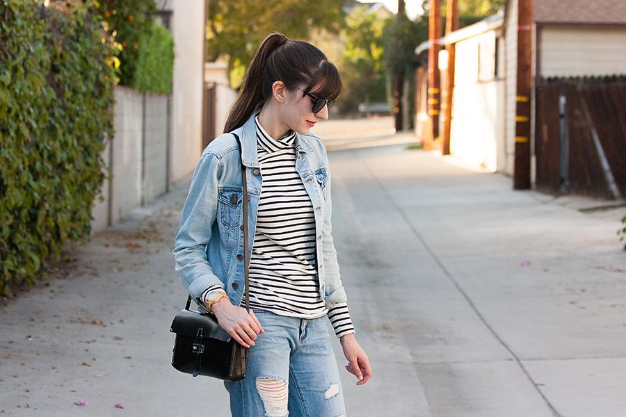 Boyfriend Jeans, Denim Jacket, Striped Shirt