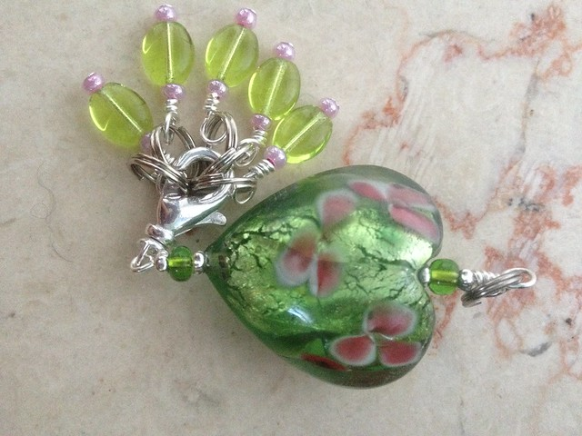 Apple Blossom Stitch Marker Holder with markers