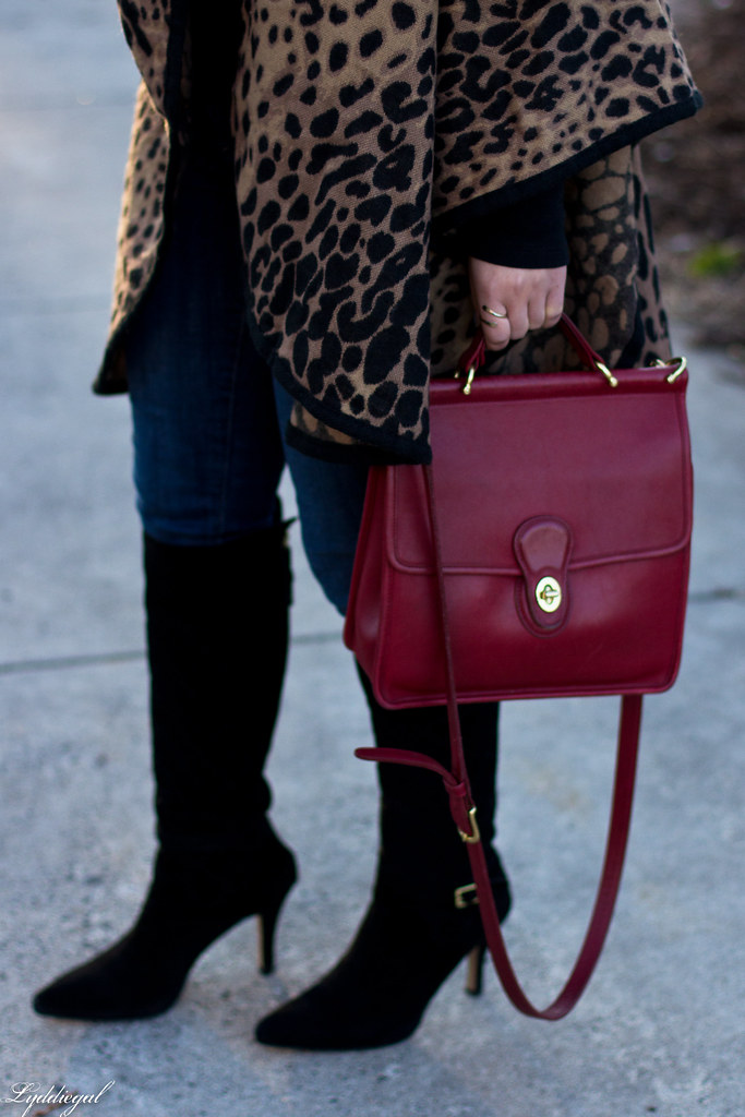 leopard poncho, black tee, black boots, red coach bag-4.jpg