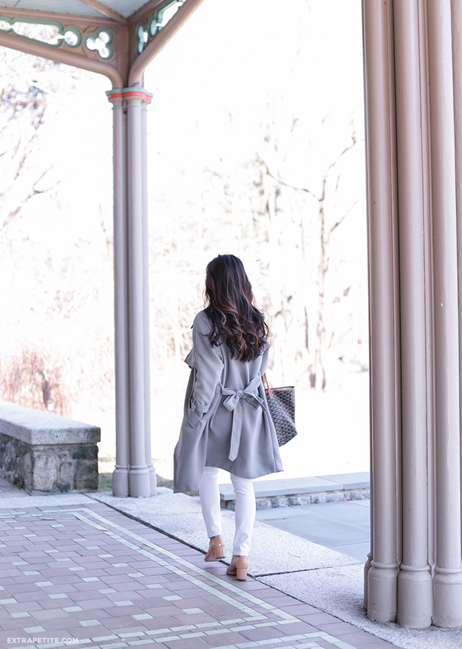 gray trench jacket chicwish balayage curly hair spring style