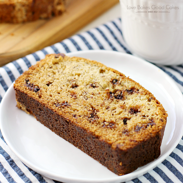 Banana Chocolate Chip Bread on a white plate.