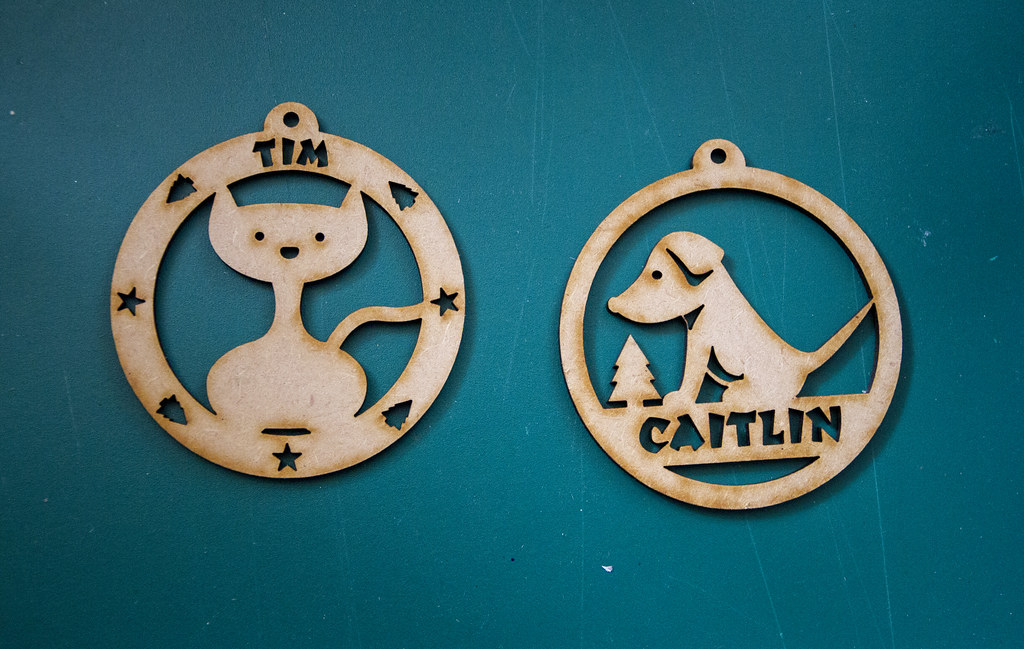 Laser Cut Personalised Cat/Dog Xmas Decorations