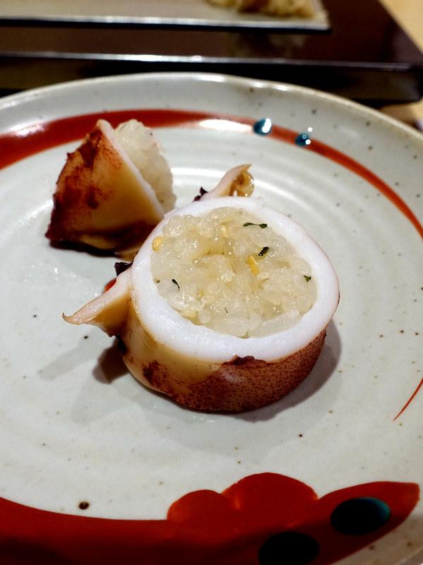 Sushi Iwa Ginza- Grilled Squid stuffed with rice