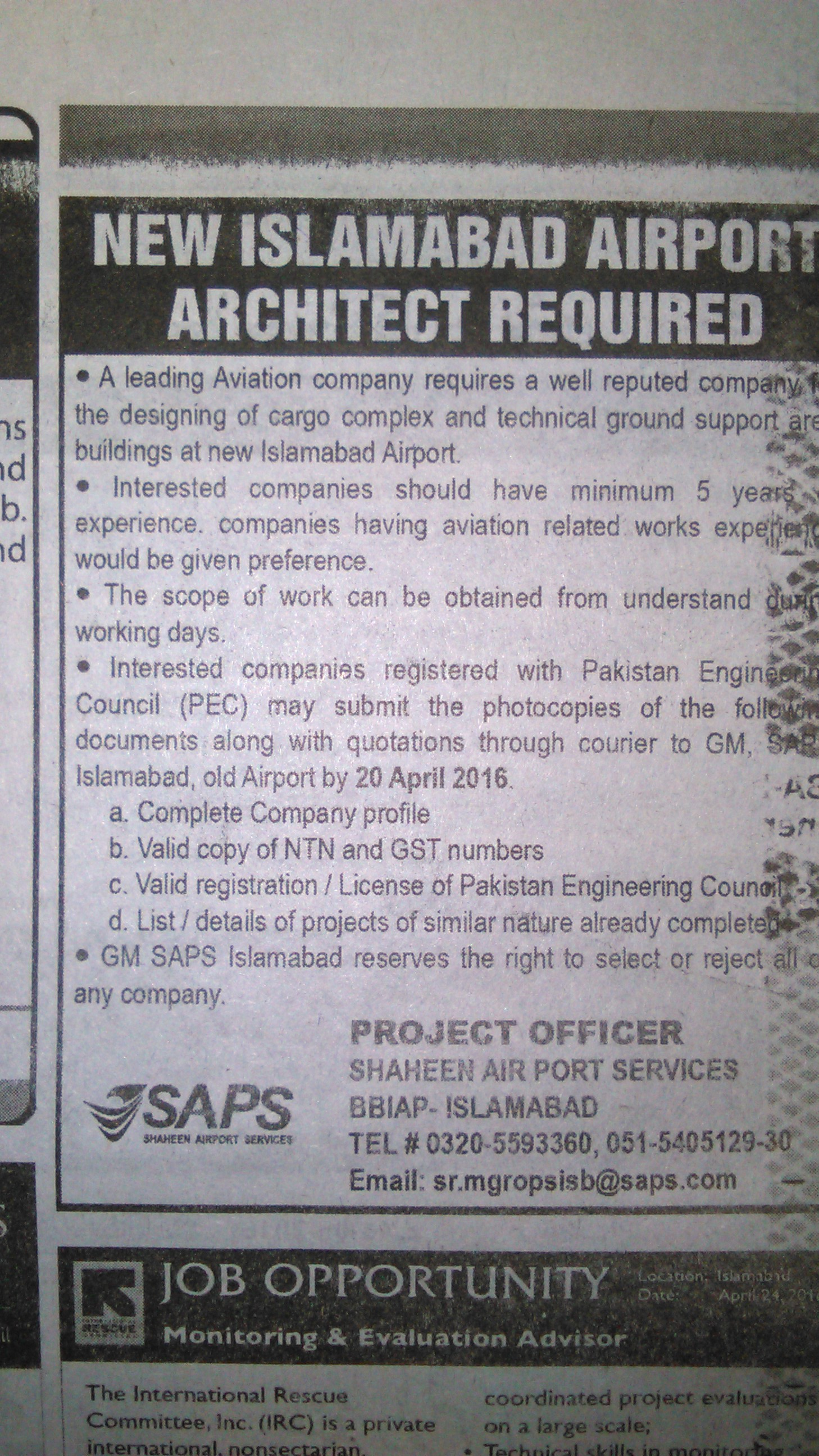 Islamabad Airport Architect Required