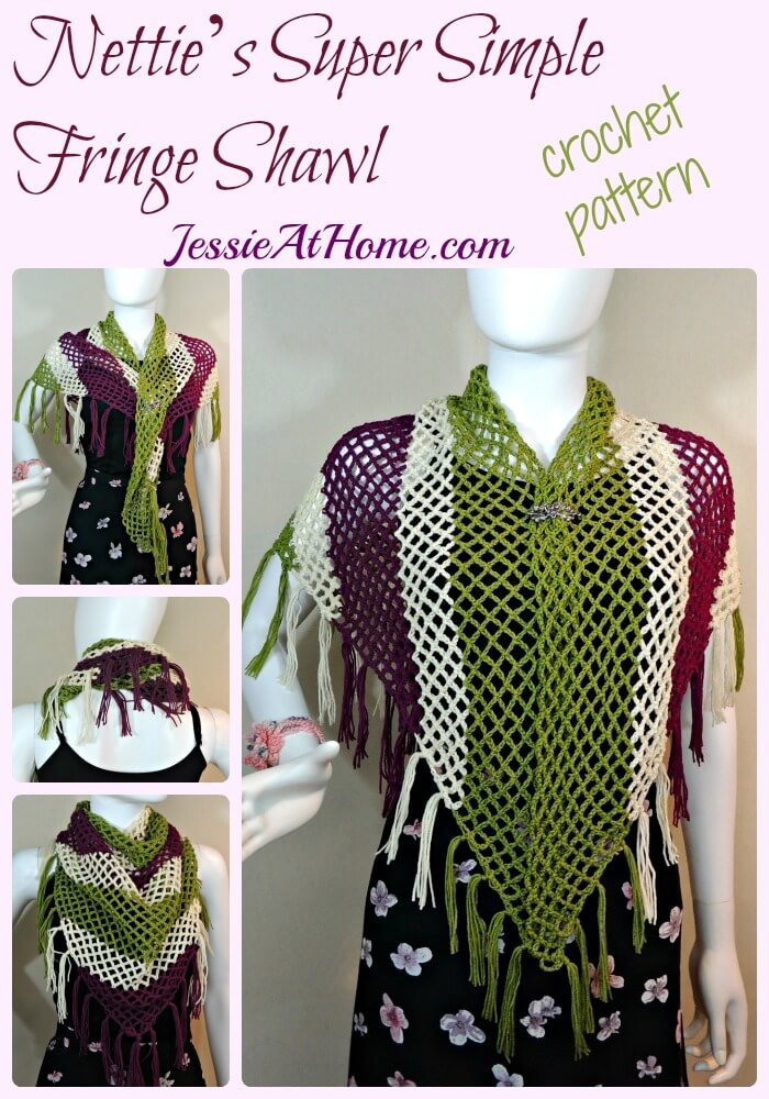 Nettie's Super Simple Fringe Shawl crochet Pattern by Jessie At home