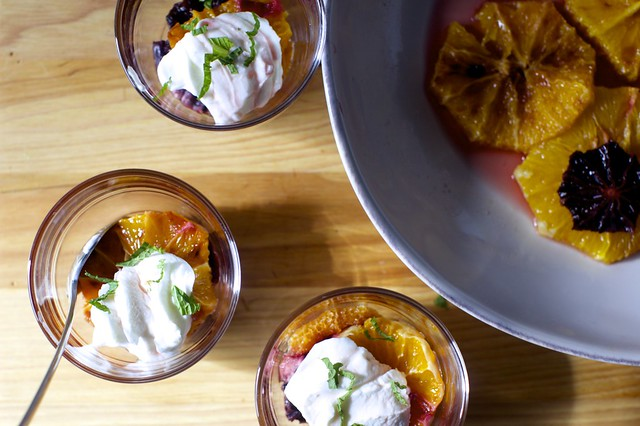 caramelized oranges with yogurt and mint