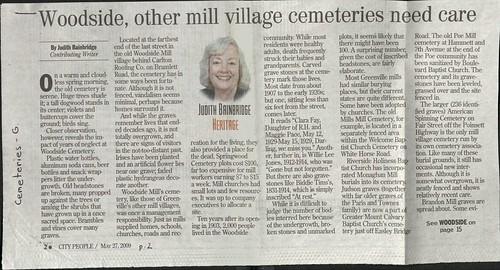 J Bainbridge - Mill Village Cemeteries