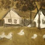 Typische Banater Siedlerhäuser, Kohle-/Bleistiftzeichung