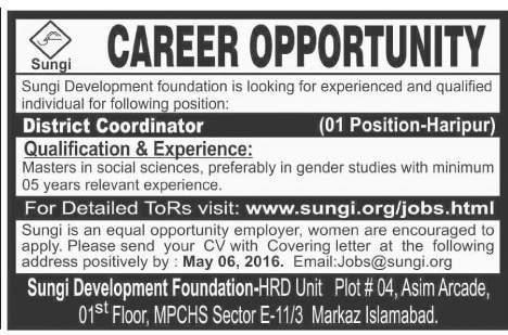 Sungi Development Foundation Haripur Jobs 2016