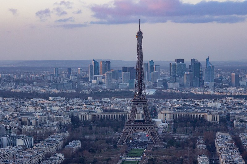 Sunset over the Eiffel Tower from Montparnasse Tower
