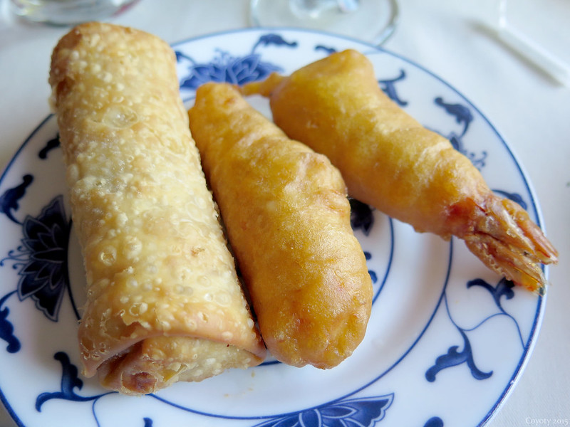 Eggroll, tempura chicken, and tempura shrimp