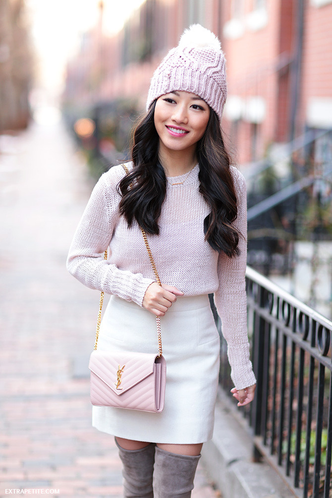 pink white winter outfit petite fashion