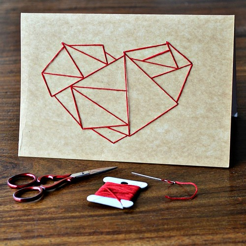 Stitching on Paper - Geometric Heart Card