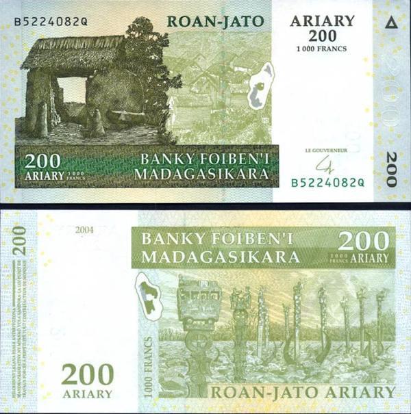 200 Ariary = 1000 Frankov Madagaskar 2007