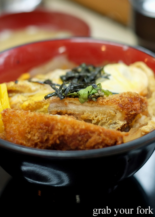 Katsudon crumbed chicken fillet with egg on rice at Tachi Kui Soba Kimidzuka near Ikebukero Station, Tokyo
