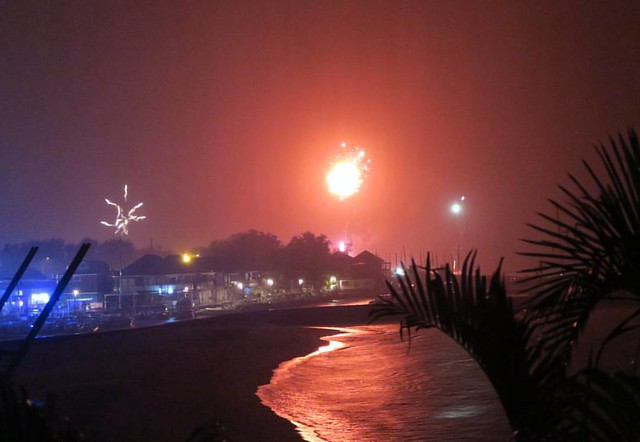 There's heavy rain outside but I managed to see some #fireworks at #midnight from my balcony overlooking #rochesnoires #beach on #ReunionIsland #happynewyear #gotoreunion #saintgilleslesbains #nye #fireworks #indianocean #tropicalrain
