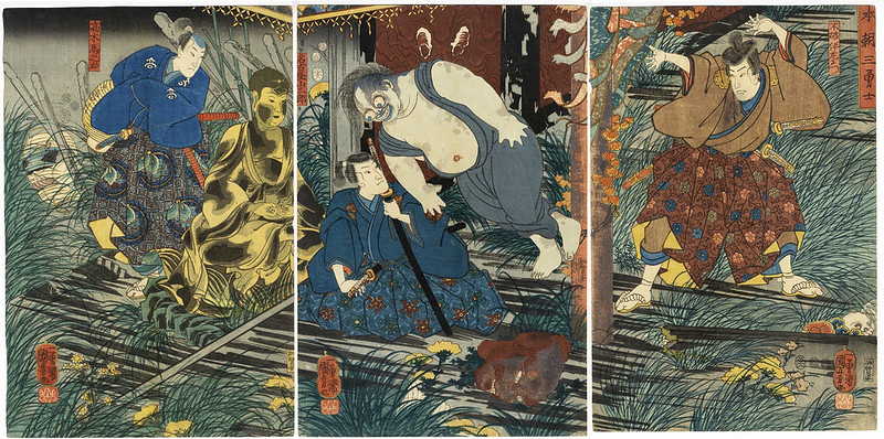 Utagawa Kuniyoshi - Three Brave Warriors of Our Country, 1852