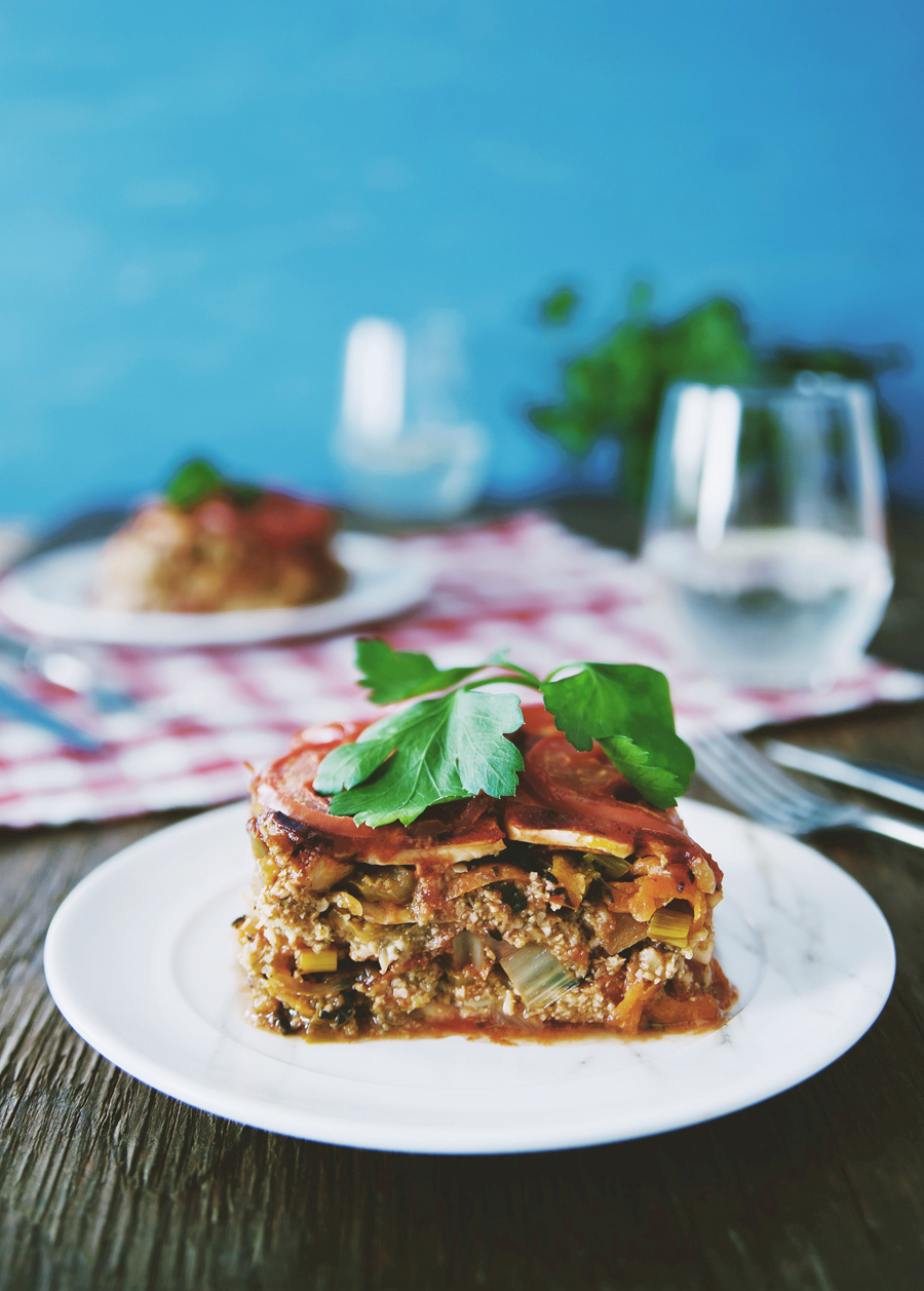 Vegan celeriac lasagne with vegetables and broccoli pesto