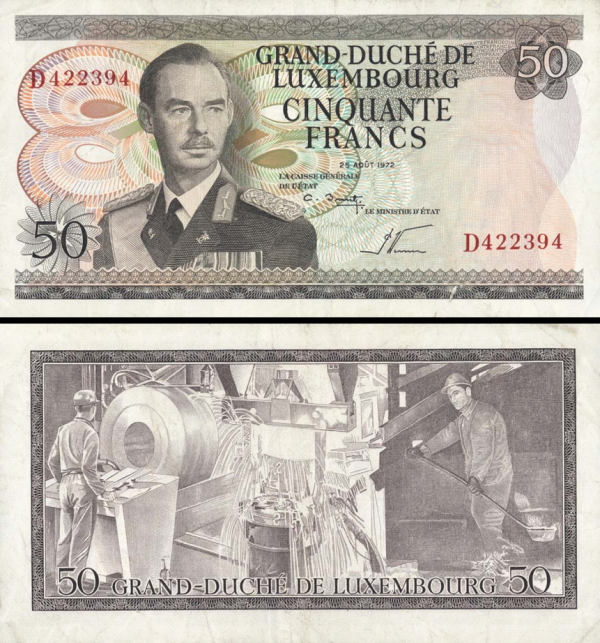 Luxembourg p55b: 50 Francs from 1972