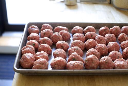a double-batch of meatballs