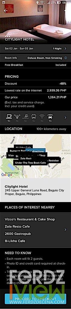 Hotel info page